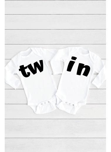 Happy Onesie Co TW IN İkizler 2'li Çıtçıtlı Bebek Body Takım Beyaz